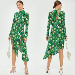 NEW TOPSHOP Green Floral Chuck On Midi Dress US 8